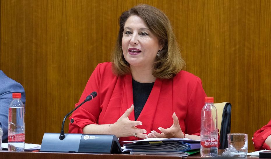 Carmen Crespo, durante la comisión parlamentaria de Agricultura, Ganadería, Pesca y Desarrollo Sostenible.