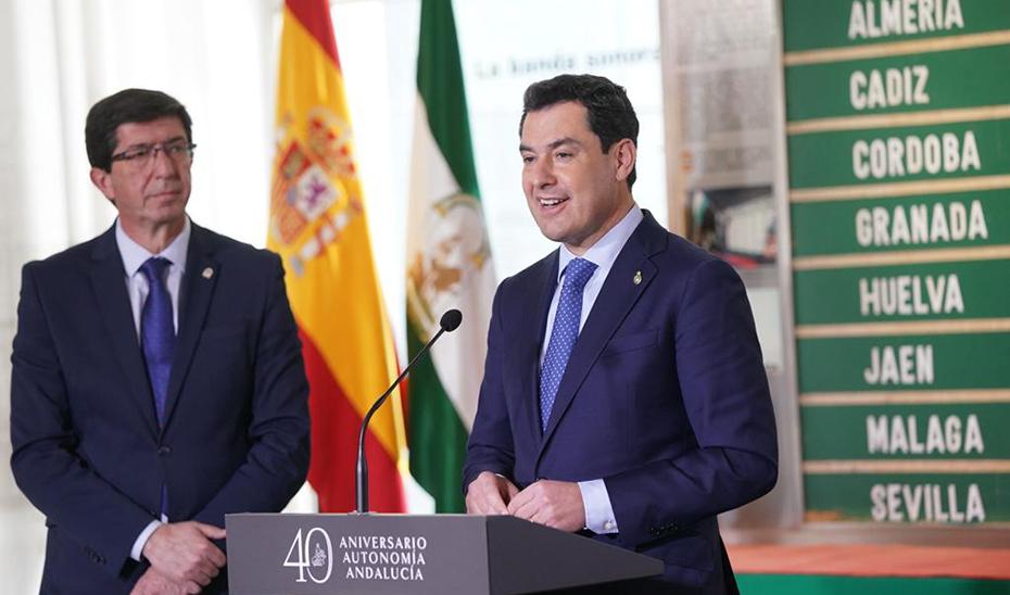 Moreno y Marín, en la rueda de prensa posterior al Consejo de Gobierno celebrado en Coria del Río.