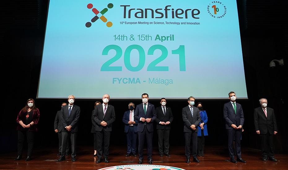El presidente de la Junta, Juanma Moreno, en la inauguración del Foro Transfiere 2021 en Málaga.