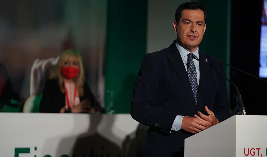 Moreno, durante su intervención, en el XII Congreso de UGT Andalucía, celebrado en Antequera.