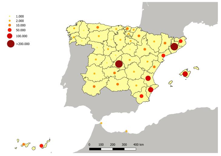 Distribución provincial de la población nacida en Andalucía y residente en el resto de España
