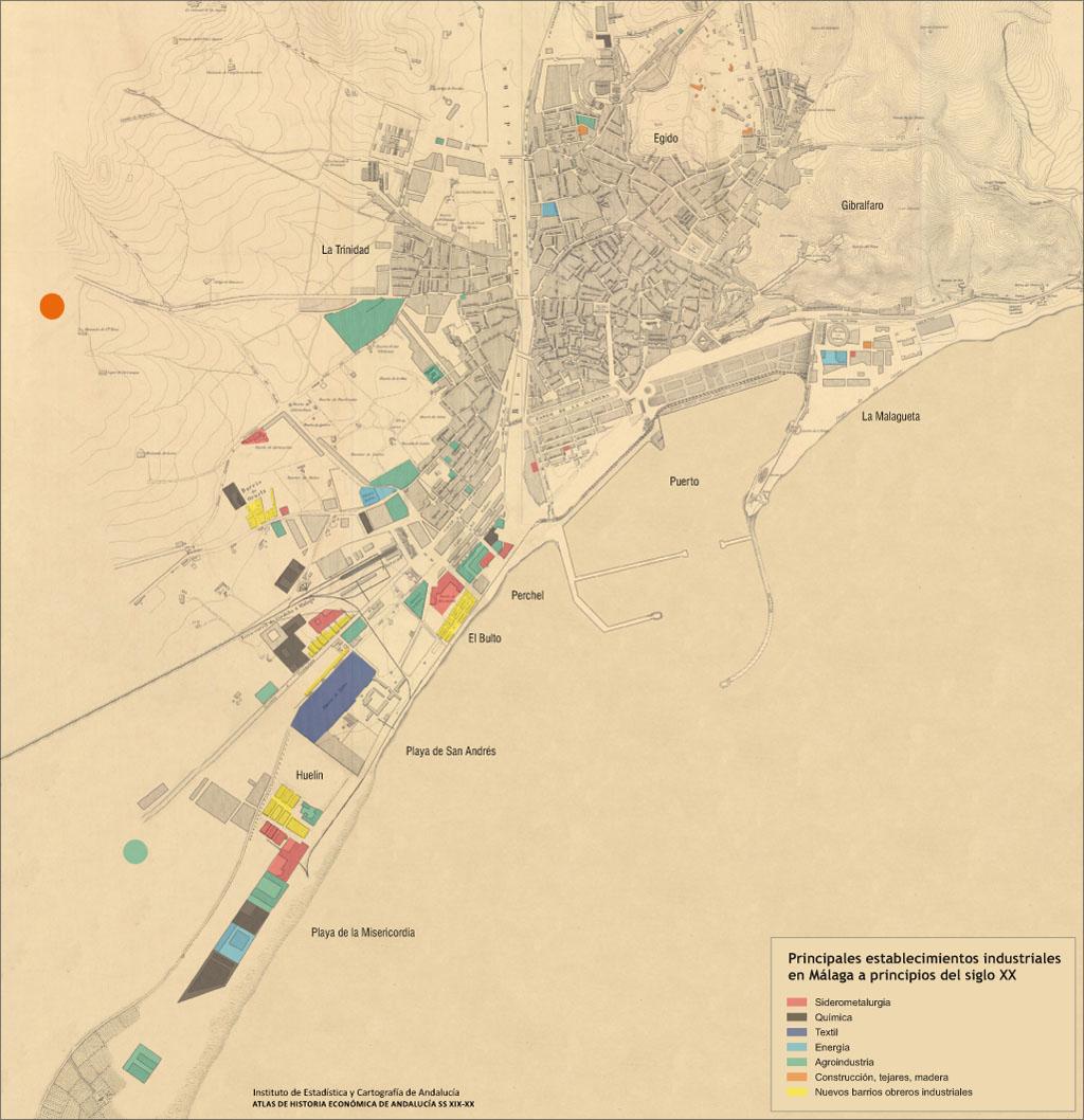 Mapa De Malaga Capital Por Barrios.Atlas De Historia Economica De Andalucia Ss Xix Xx