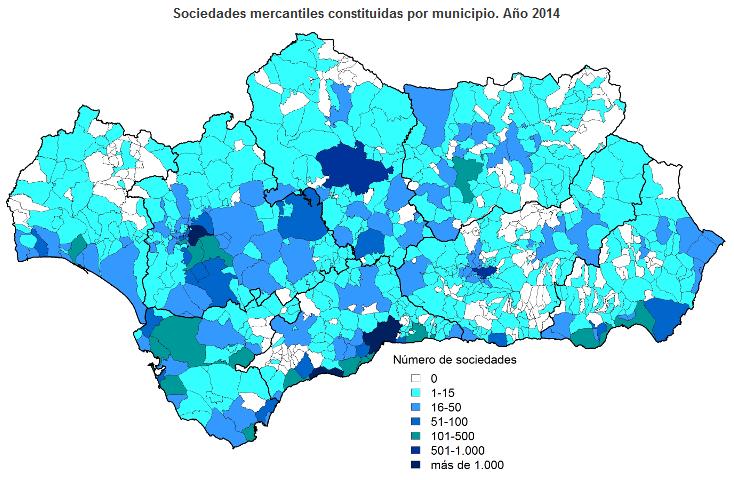 Sociedades mercantiles constituidas por municipio. Año 2014
