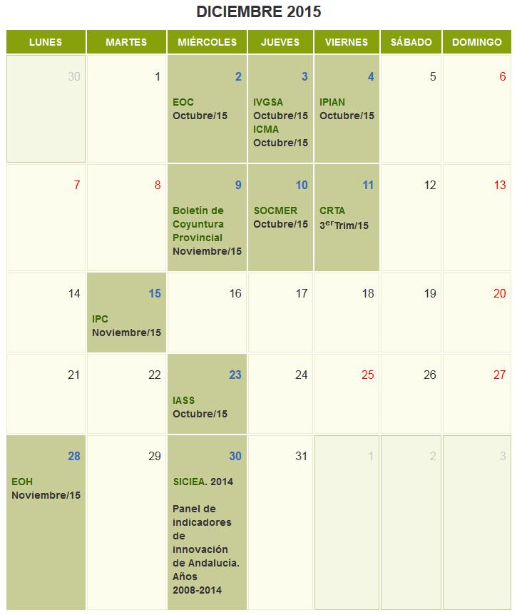 La agenda de noviembre