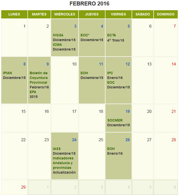 Calendario de Difusión de Actividades Estadísticas y Cartográficas. Febrero 2016