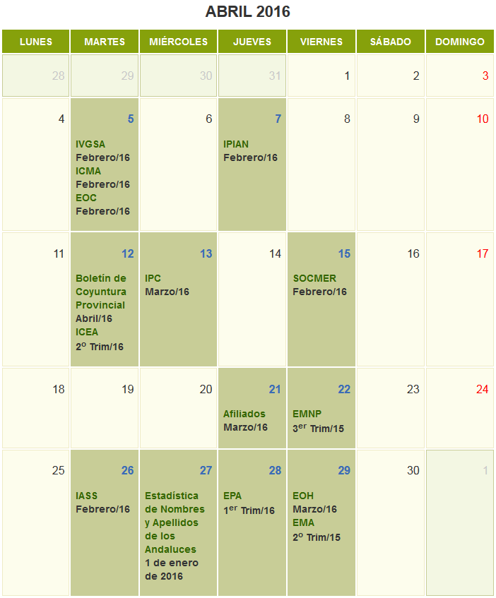 Calendario de abril 2016