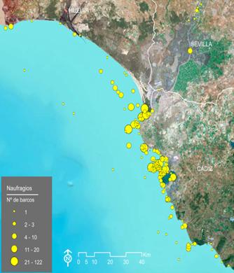 Localización de naufragios y número de barcos en el Golfo de Cádiz. Fuente: SIGNauta (CAS-IAPH)