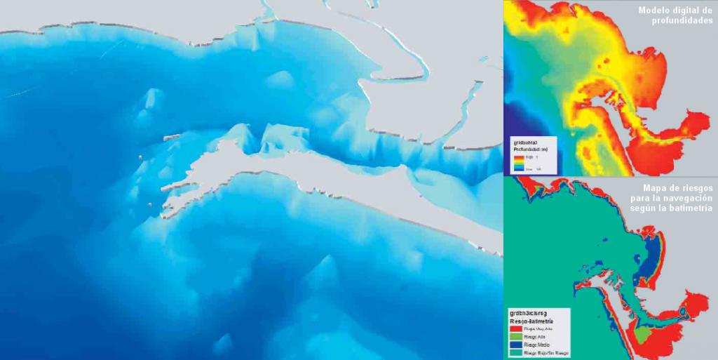 Modelo Digital 3D de profundidades de la Bahía de Cádiz en 1807. A la derecha, mapa de batimetría en la actualidad y cartografía de potencialidad de riesgo por batimetría