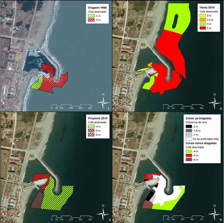 Imágenes de evolución de los dragados, tomadas  del Informe consultivo acerca de las cautelas arqueológicas que deberían establecerse en el Proyecto de Dragado de la bocana y entorno de diques en el Puerto de la Atunara (La Línea de la Concepción, Cádiz, 2010)