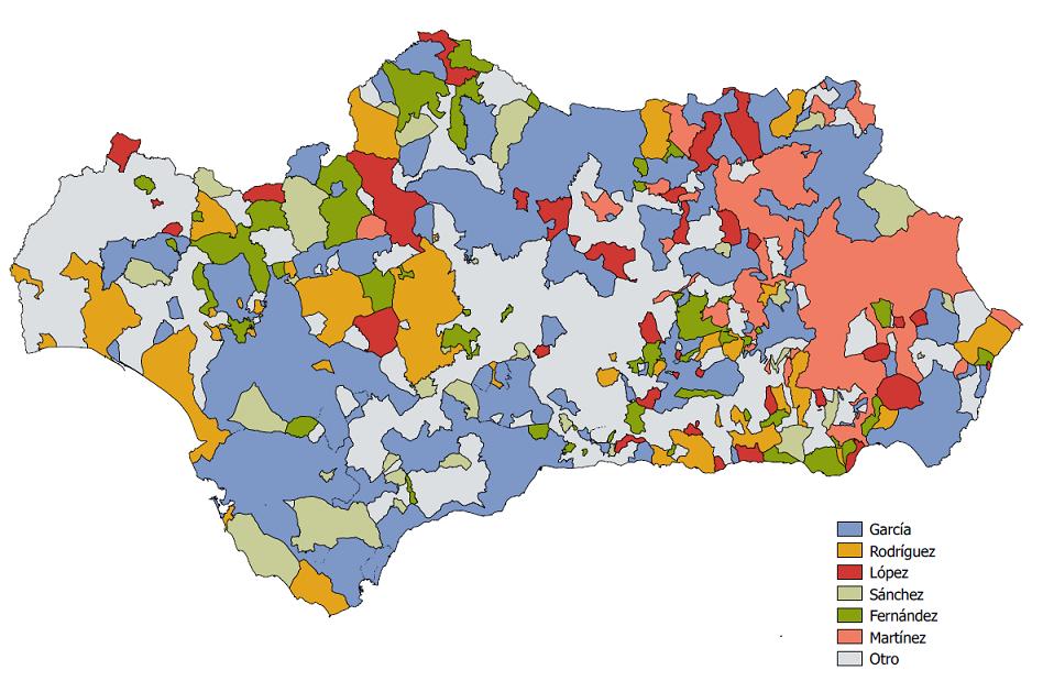 Apellidos más frecuentes por municipio