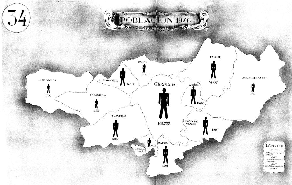 Distribución de la población de Granada por secciones censales. Ayuntamiento de Granada 1946. Archivo Histórico Municipal de Granada