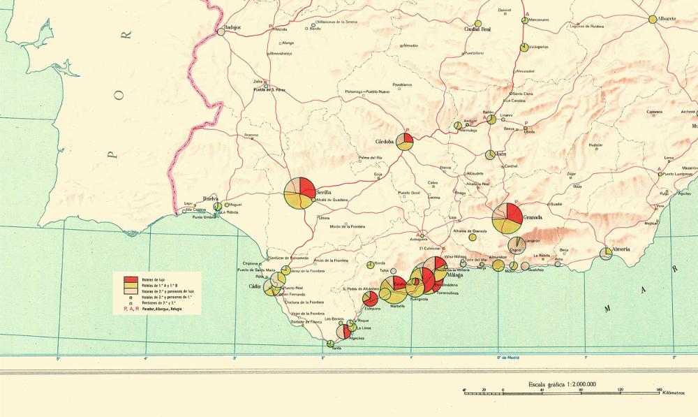 Lamina 98. Plazas Turísticas. Atlas Nacional de España, 1965 1:2.000.000. Instituto Geográfico y Catastral