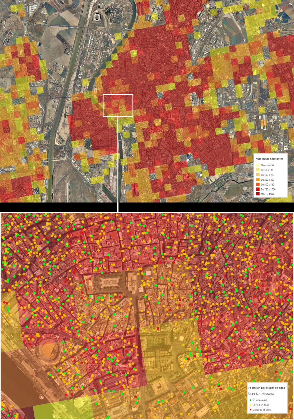 Distribución espacial de la población en Andalucía en cuadricula de 250x250 m. a 1 de enero de 2013. Instituto de Estadística y Cartografía de Andalucía