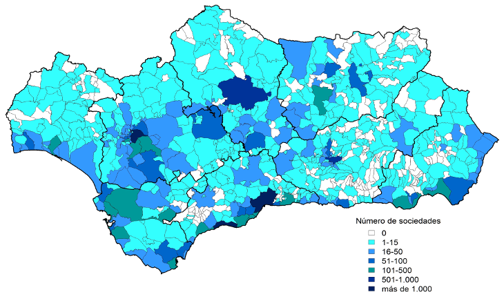Sociedades mercantiles constituidas por municipio. Año 2015