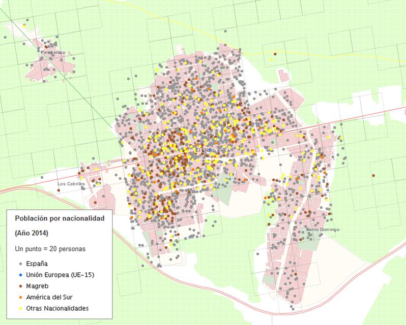 Visualizador cartográfico con la distribución de la población por nacionalidad centrado en el municipio de El Ejido (Almería)