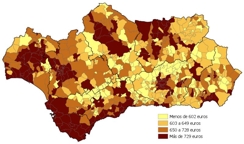 Pensión media de los municipios andaluces. Año 2015