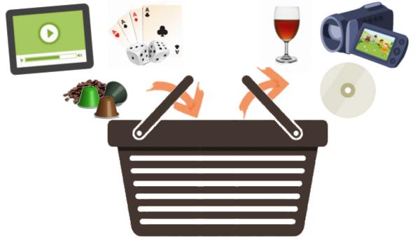 Algunos artículos que entran y salen de la cesta de la compra