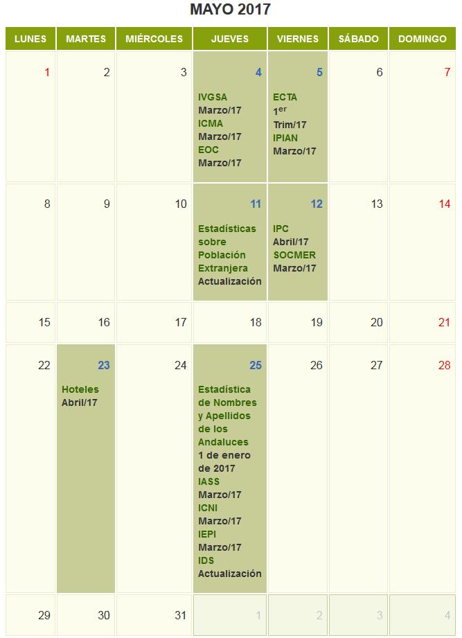 Calendario de Difusión de Actividades Estadísticas y Cartográficas de mayo 2017