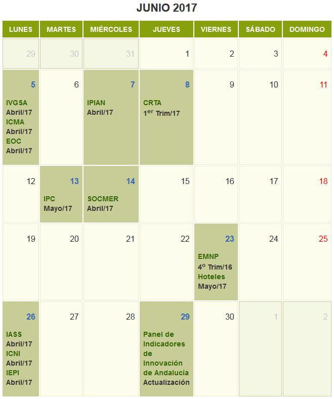Calendario junio 2017
