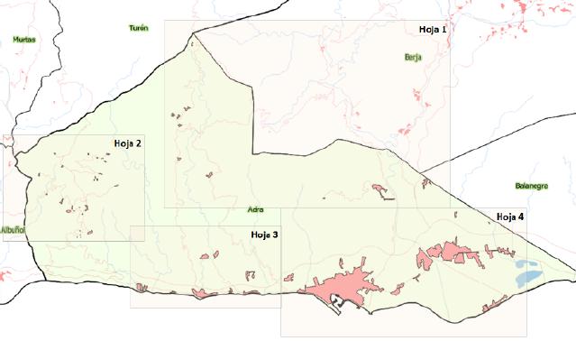 Distribución de los 58 asentamientos identificados en Adra