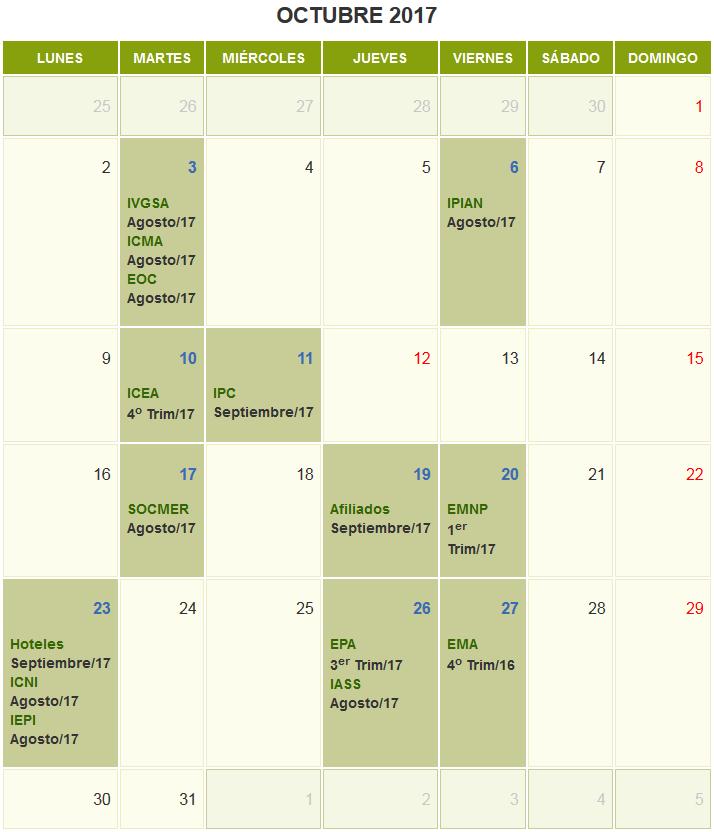 Calendario octubre 2017