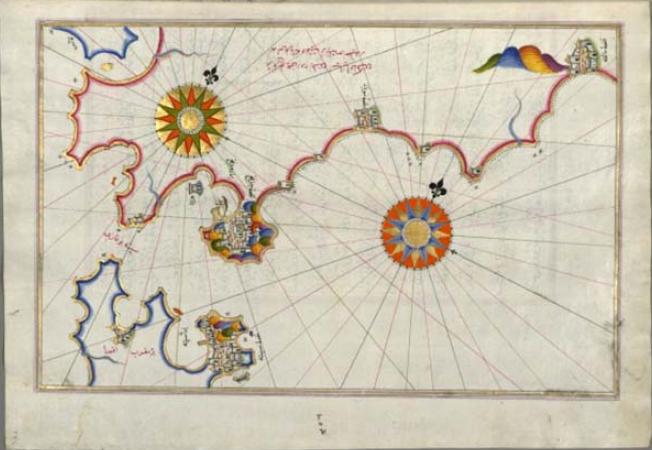 Carta del Estrecho y el sur de Andalucía con Gibraltar, Algeciras, Tarifa y parte de la isla de Cádiz. Muhyiddin Piri Reis, en Kitab-i Bahriye, Libro del Mar o de la Navegación, 1526, copia de 1690-1700