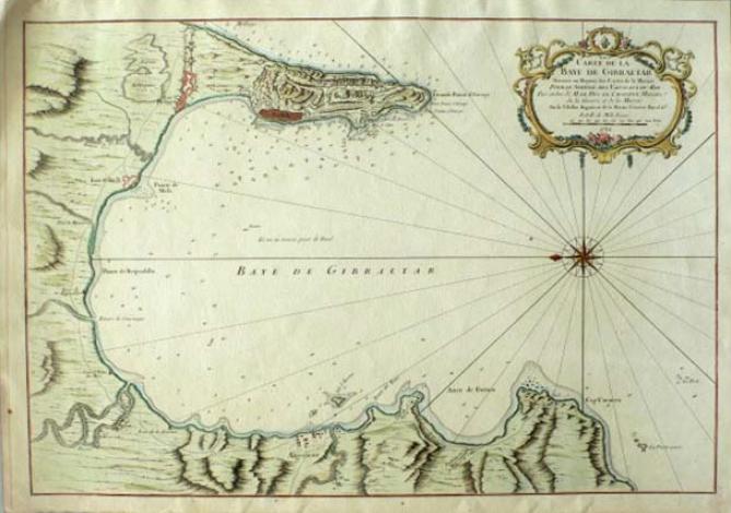 Carte de la Baye de Gibraltar. Jacques Nicolas Bellin, Paris, 1762