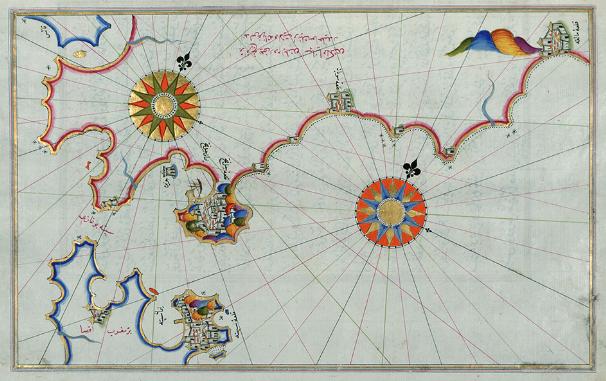 Carta del Estrecho y el sur de Andalucía con Gibraltar, Algeciras, Tarifa y parte de la isla de Cádiz