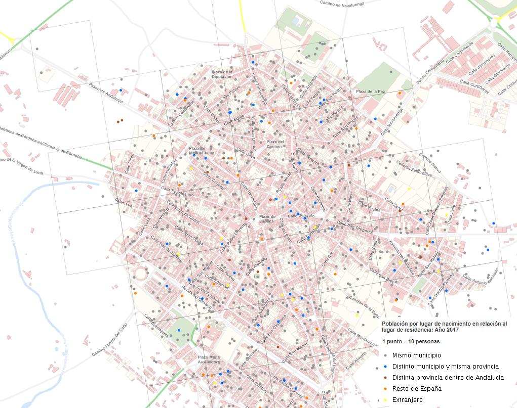 Densidad de población residente según lugar de nacimiento en el municipio de Villanueva de Córdoba