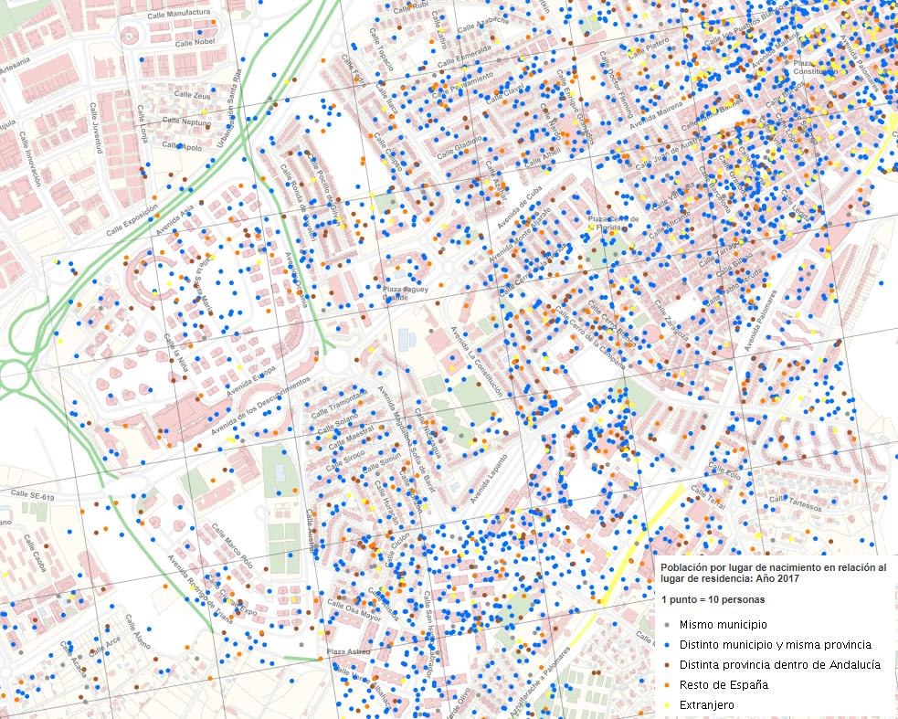 Densidad de población residente según lugar de nacimiento de Mairena del Aljarafe (Sevilla)