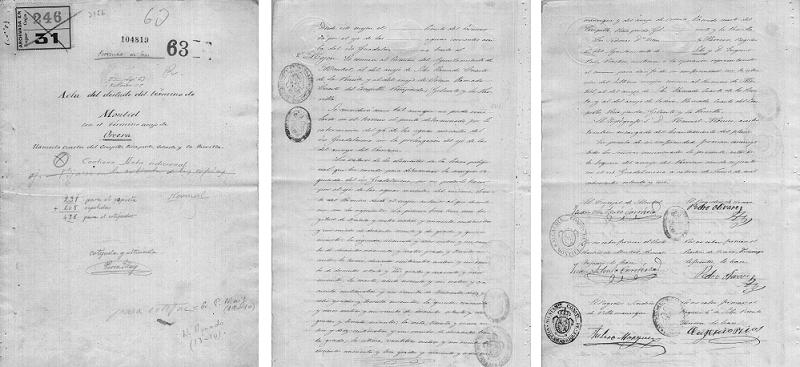 Acta del deslinde del término de Montiel con el término anejo de Orcera (12 de junio de 1.876)