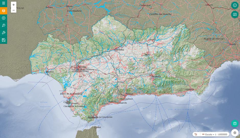Imagen del visor de la Infraestructura de Datos Espaciales de Andalucía (IDEAndalucía)