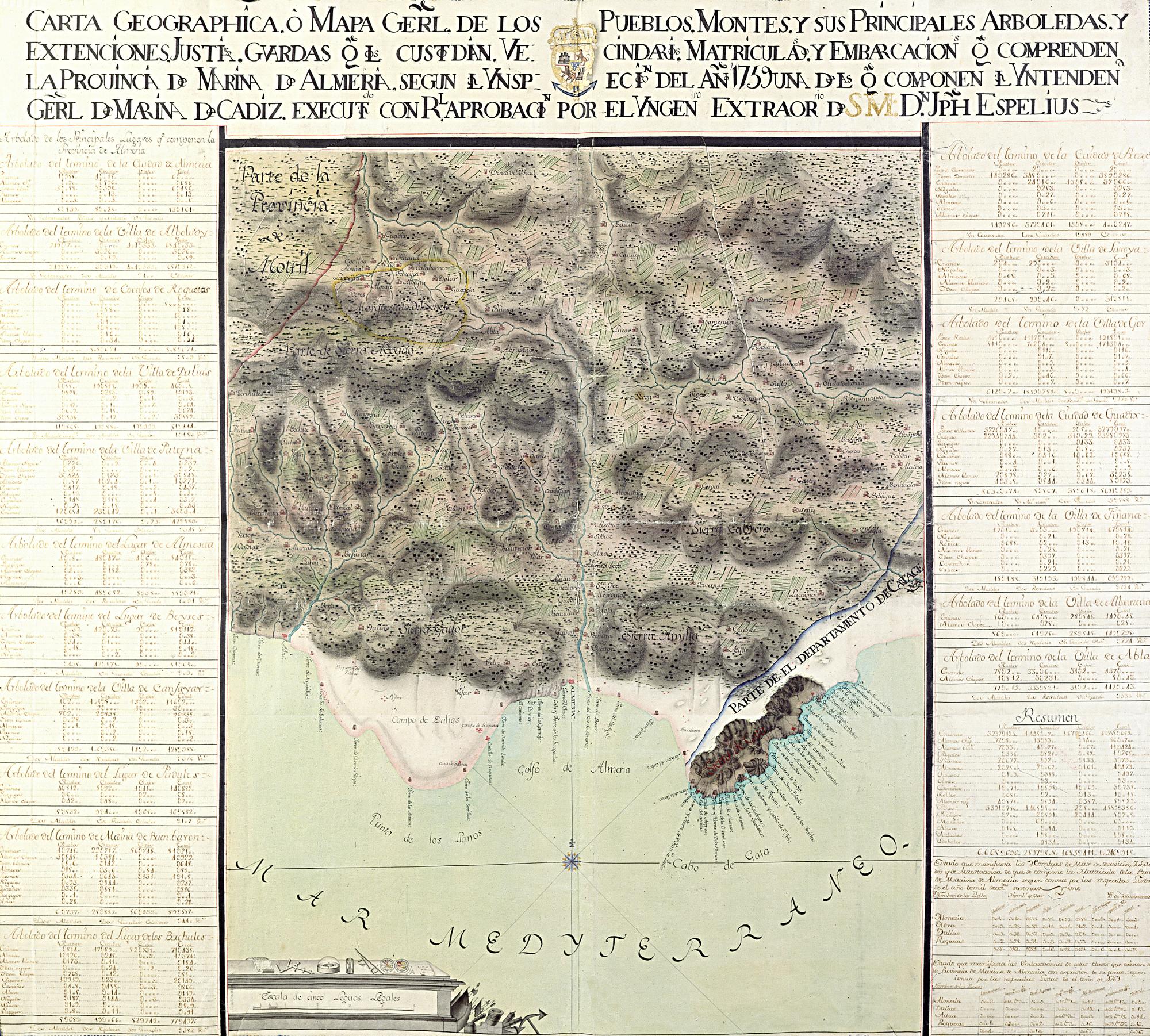 ALMERIA (Provincia). Parcial. Mapas generales. 1:127000. 1764