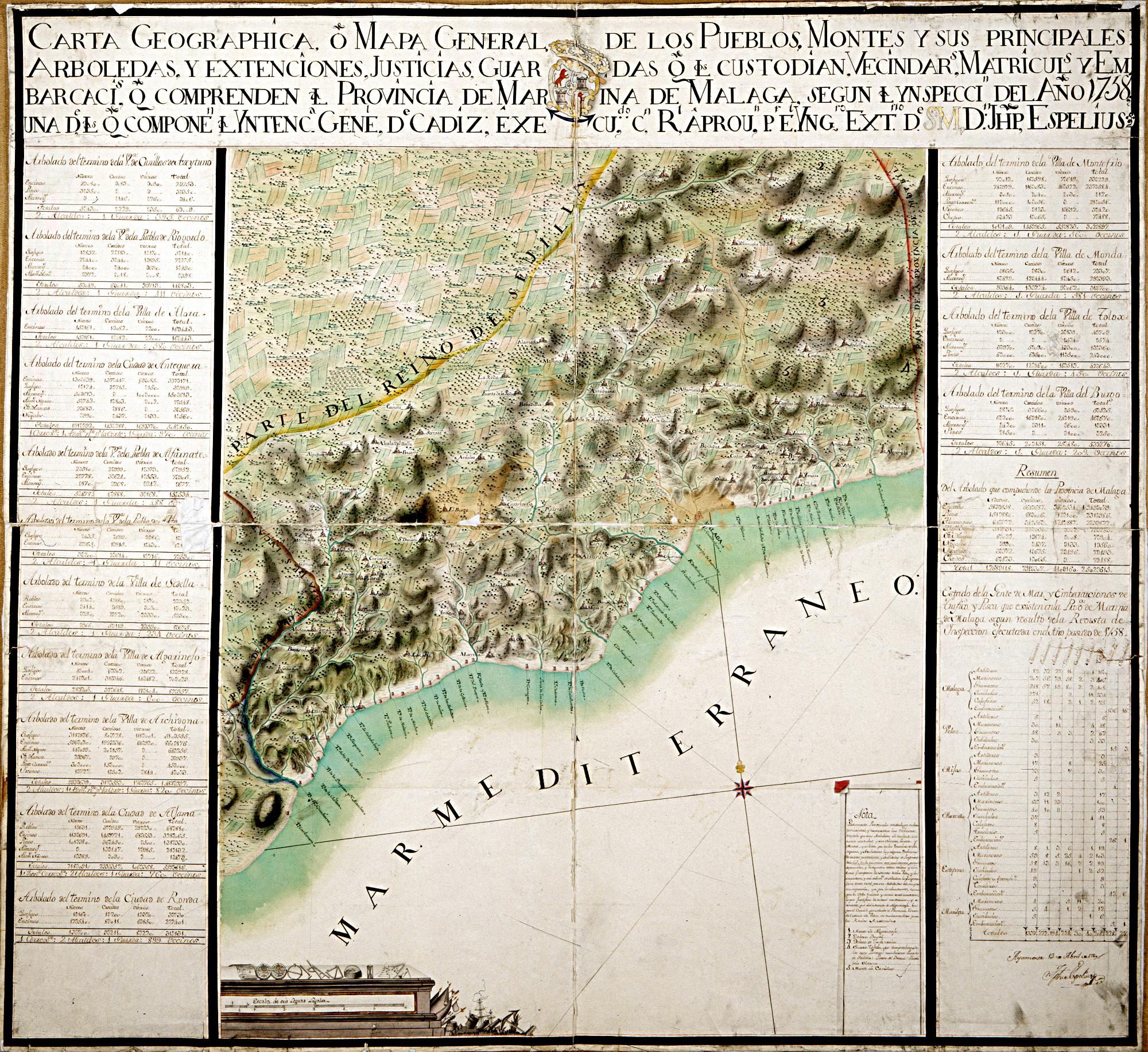 MALAGA (Provincia). Mapas generales. 1:165000. 1760