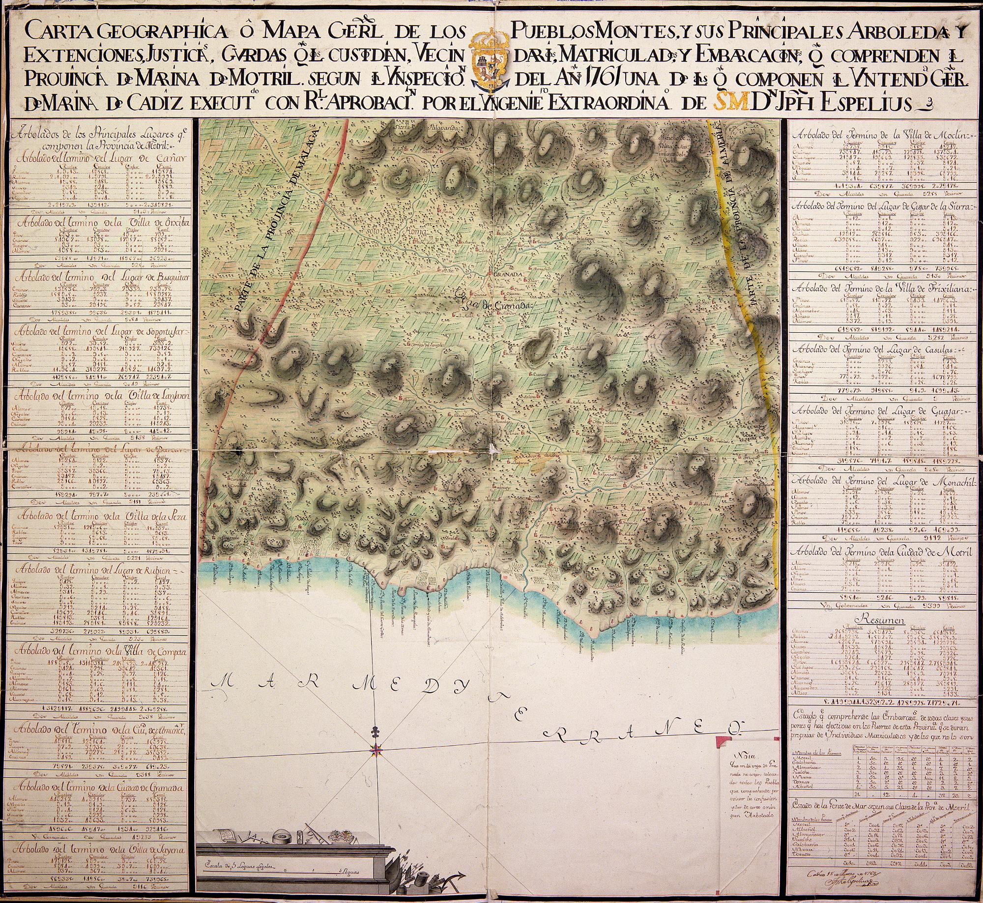 GRANADA (Provincia). Parcial. Mapas generales. 1:100000. 1763