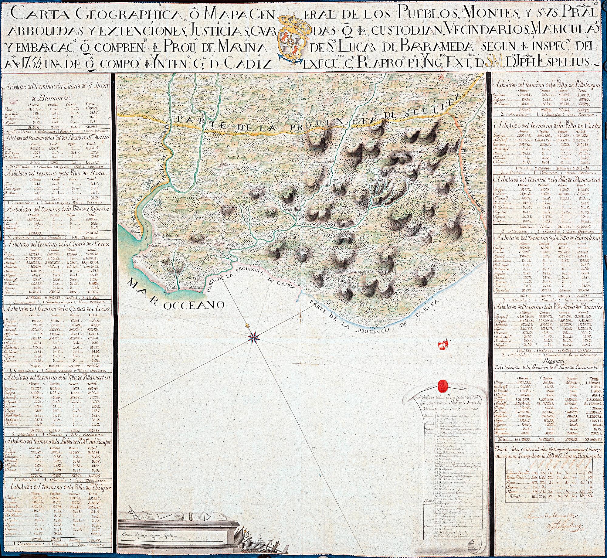 CADIZ (Provincia). Parcial. Mapas generales. 1:120000. 1760