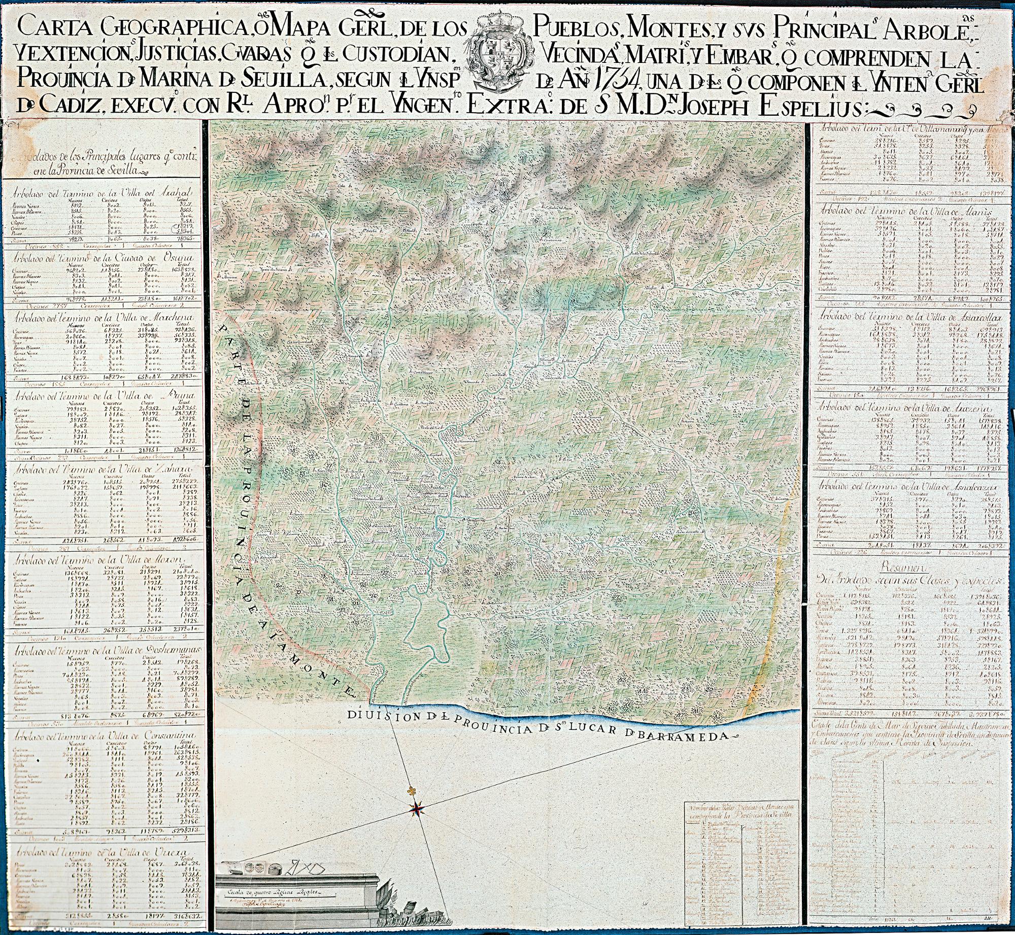SEVILLA (Provincia). Mapas generales. 1:126000. 1761