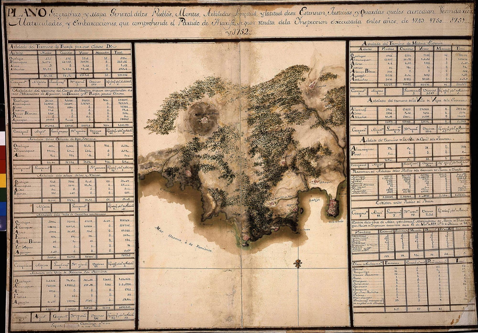 CADIZ MERIDIONAL (Provincia). Mapas generales. 1:538000. 1749 (1756)