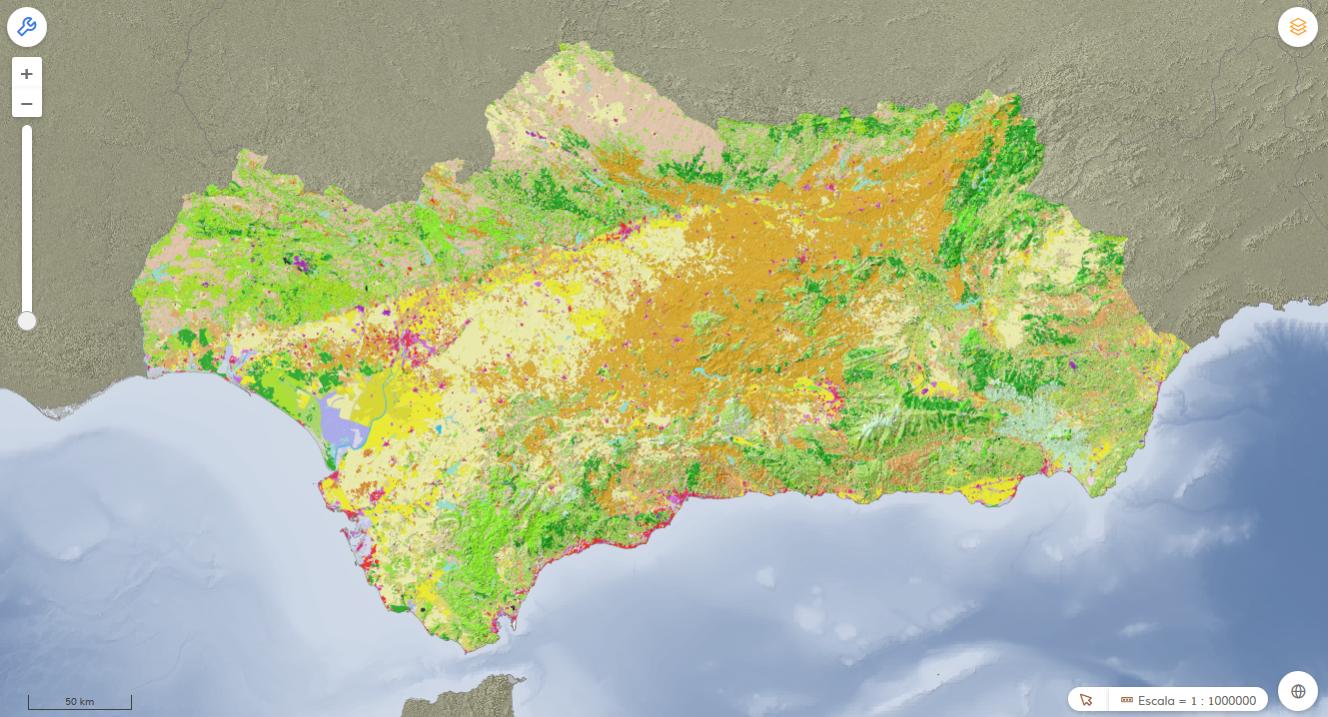 Visor de los Datos Espaciales de Referencia de Andalucía (DERA). Usos del suelo