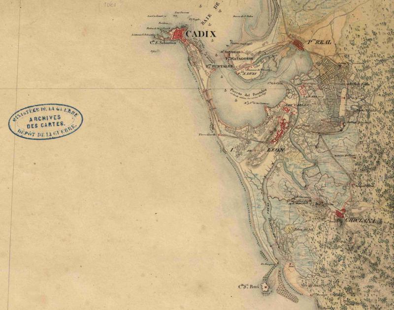 Detalle de la Hoja nº 274 del mapa de Andalucía a escala 1:100.000 Bahía de Cádiz 1811