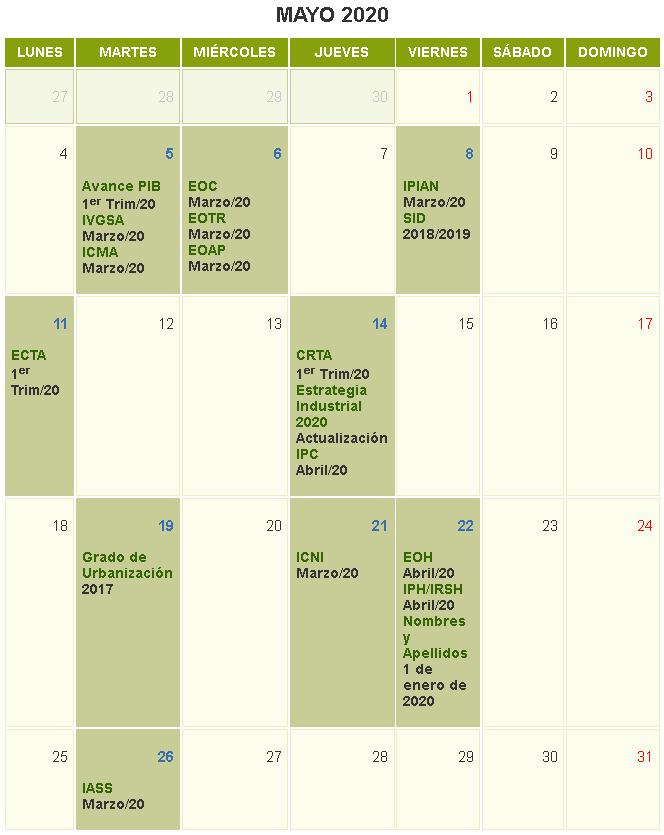 Y la agenda de mayo...