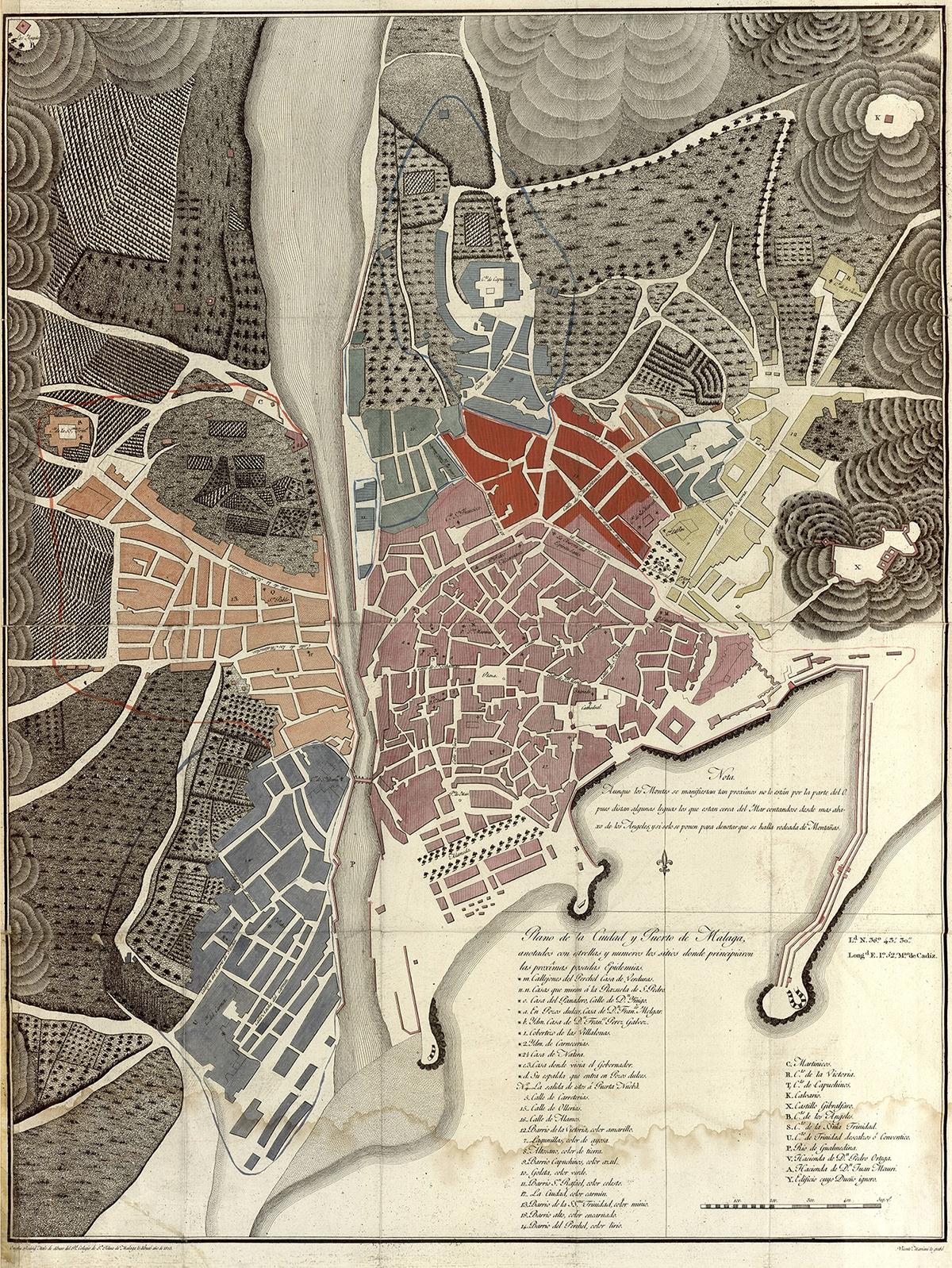 Plano de la Ciudad y el Puerto de Málaga : anotados con estrellas y numeros los sitios donde principiaron las proximas pasadas epidemias 1805