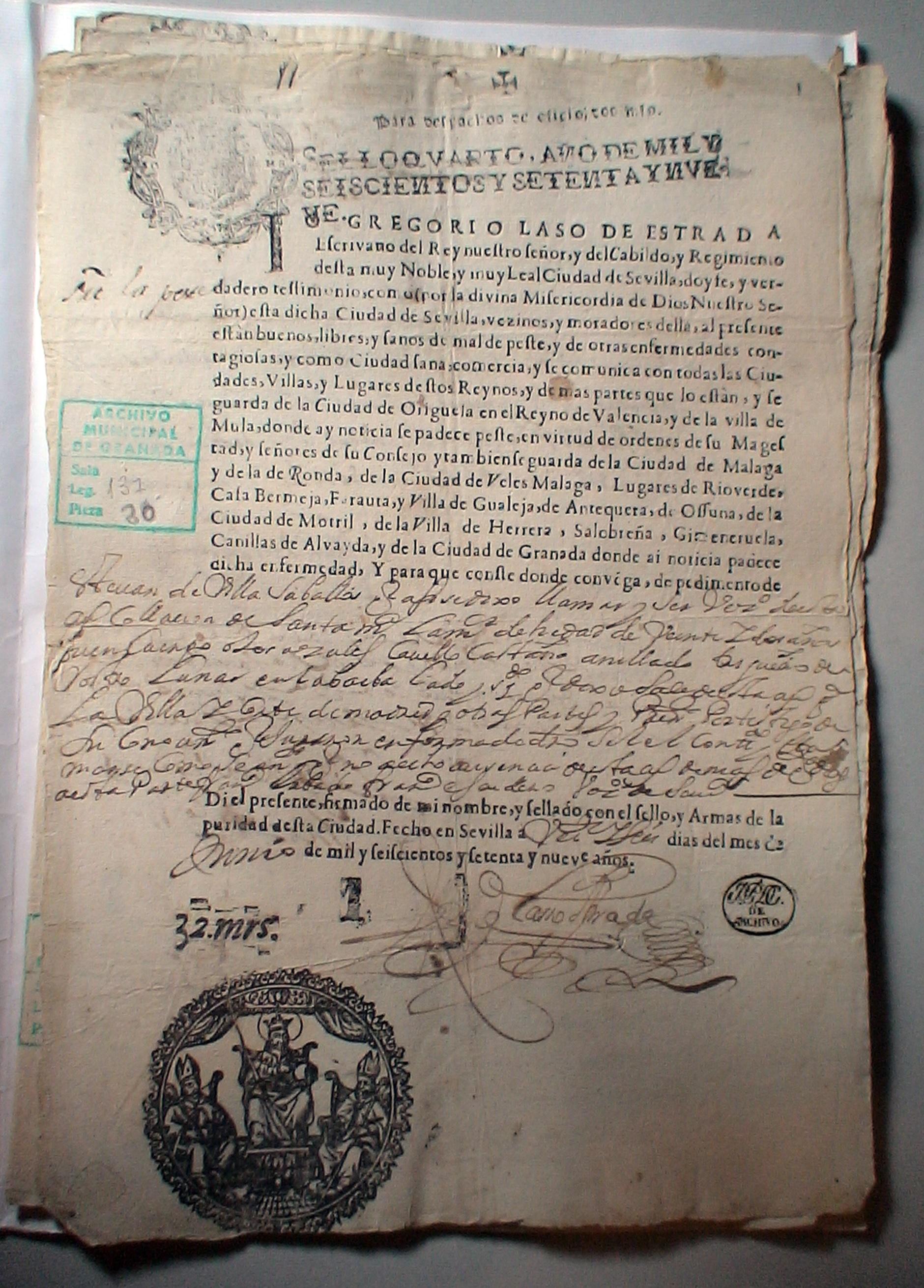 Pasaporte sanitario a favor de Esteban de Villa Saballos 1679