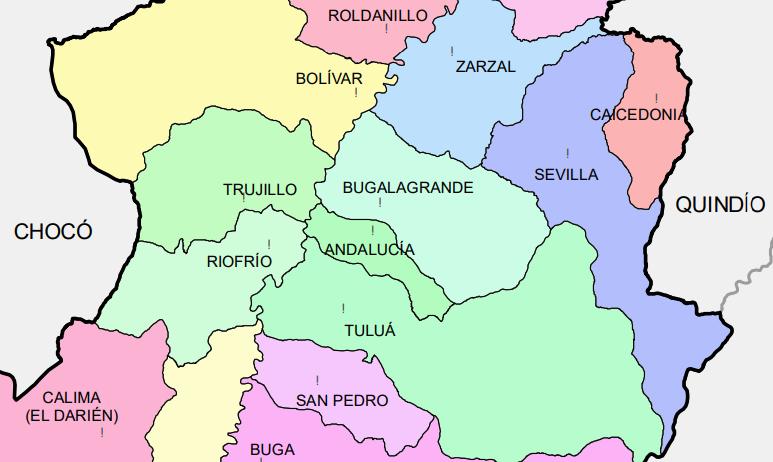 Mapa parcial de división político administrativa del Valle del Cauca (Colombia) centrada sobre el municipio de Andalucía, cerca del cual se puede localizar el de Sevilla