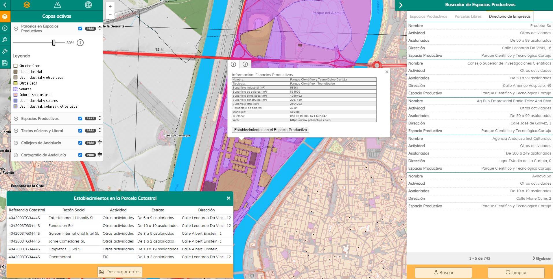 Visor Web Cartográfico de los Espacios Productivos de Andalucía (ESPAND). Versión Beta