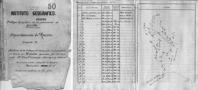 Cuaderno de los trabajos de topografía correspondientes al término de Huevar (30 de abril de 1.872)