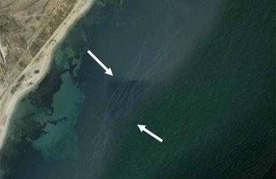 Foto de satélite extraída de Google Earth frente al LIC de los bajos de Roquetas