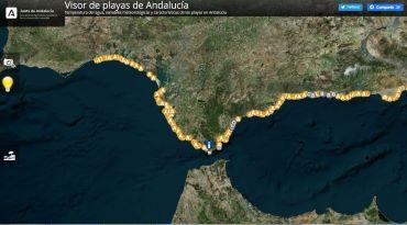 Pantalla del Visualizador de playas de Andalucía