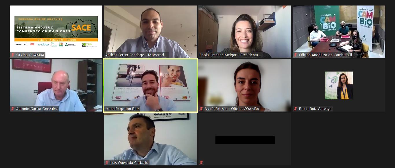 Captura de pantalla de los ponentes y participantes en la jornada