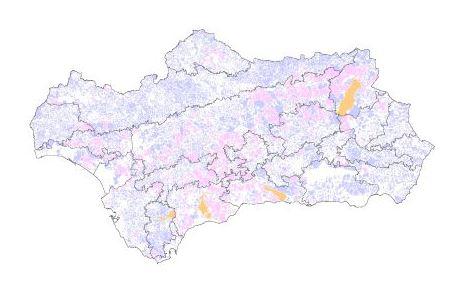 Mapa de terrenos cinegéticos de Andalucía